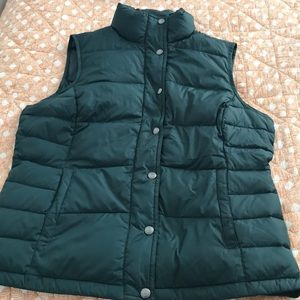 Green down puffy vest